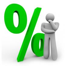 Groen %-teken, met daarvoor een persoon in denkhouding.